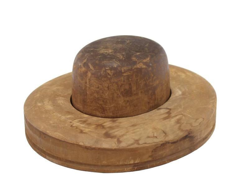 Mid-Century Modern Pair of Wooden Antique Hat Forms For Sale