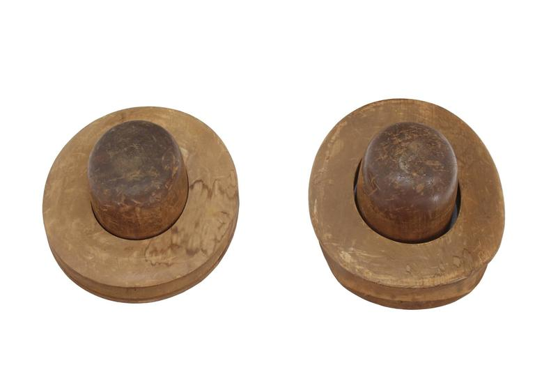 Pair of Wooden Antique Hat Forms For Sale 1