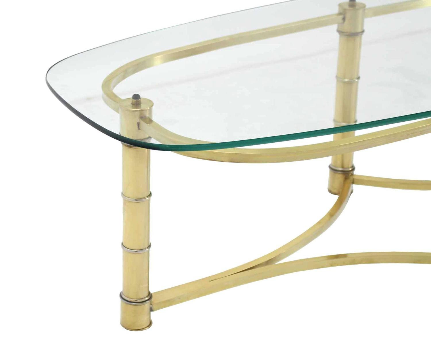 Brass And Glass Oval Coffee Table