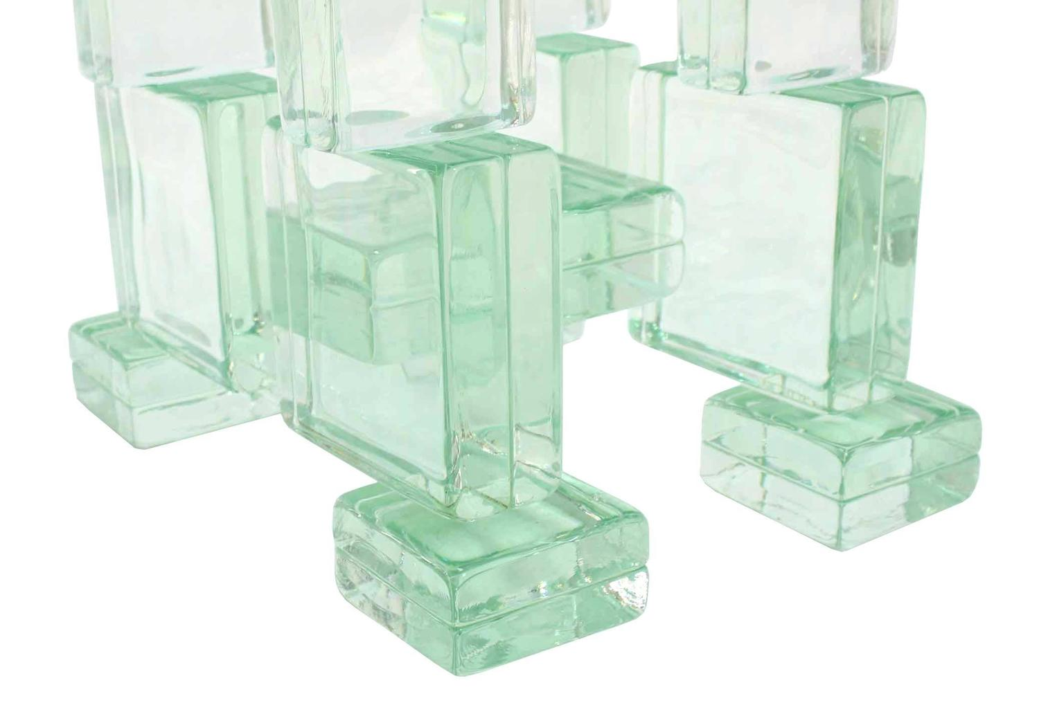 Thick Heavy Solid Glass Blocks Glass Top Coffee Table For Sale At 1stdibs