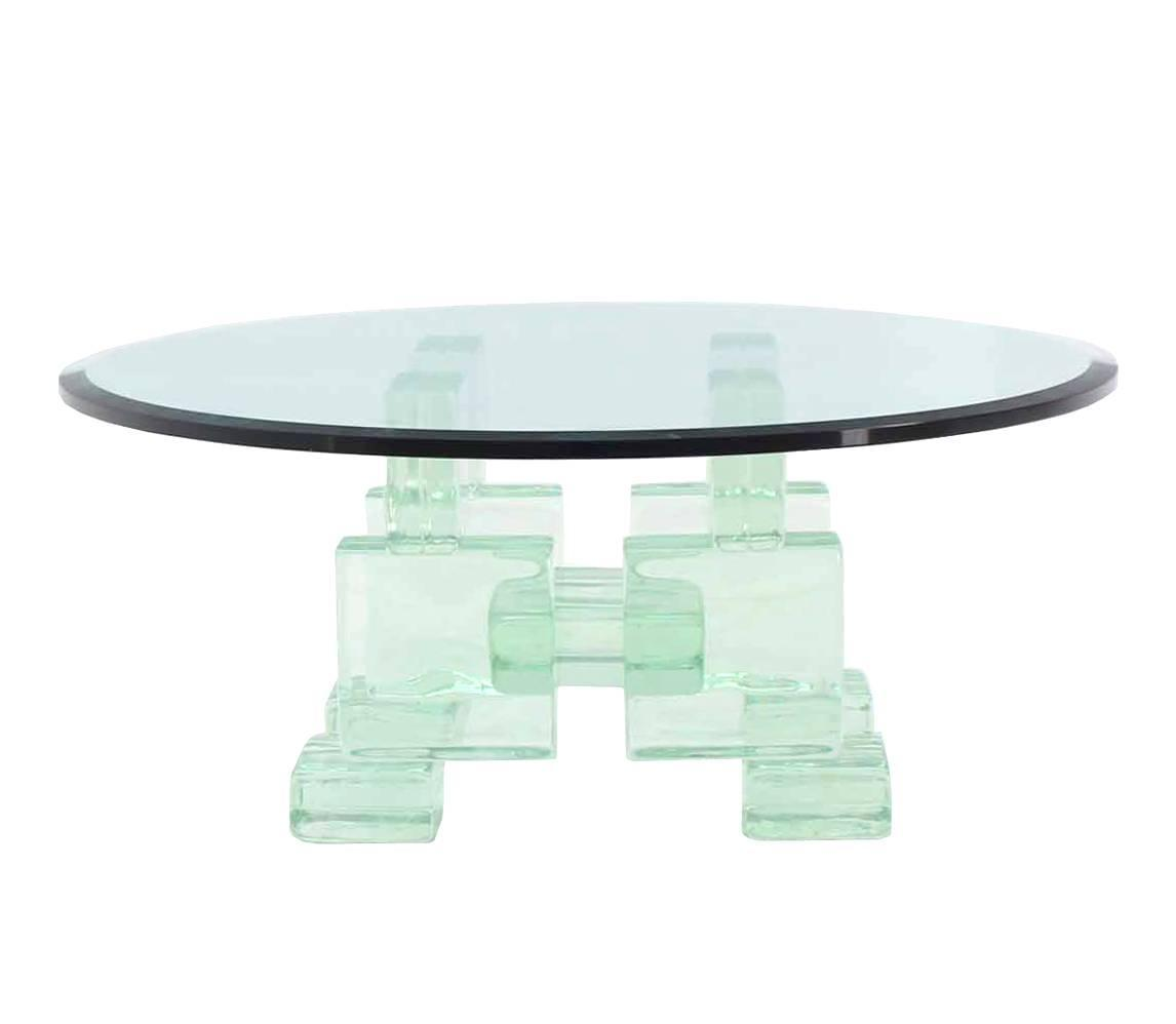 Thick Heavy Solid Glass Blocks Glass Top Coffee Table For