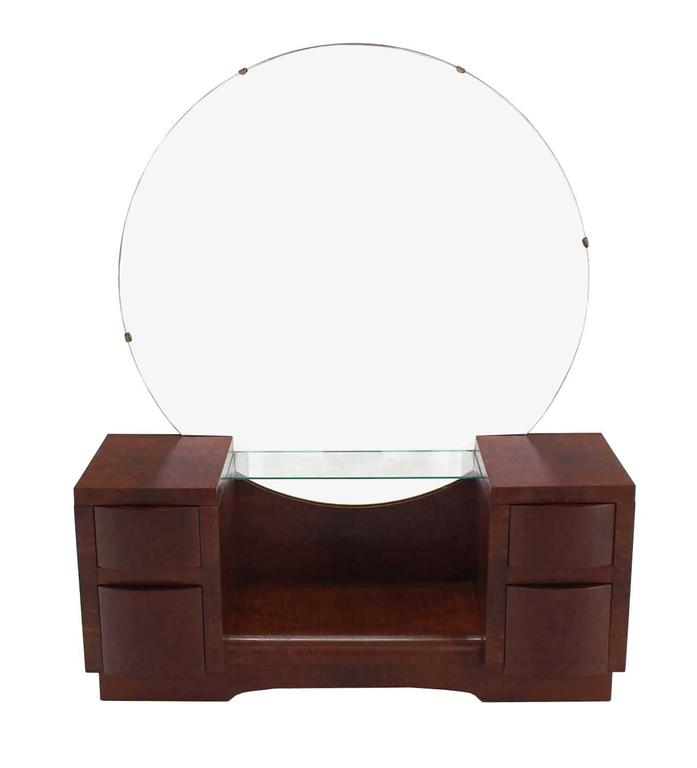 Very Nice Art Deco Mid Century Modern Vanity With Large Round Mirror
