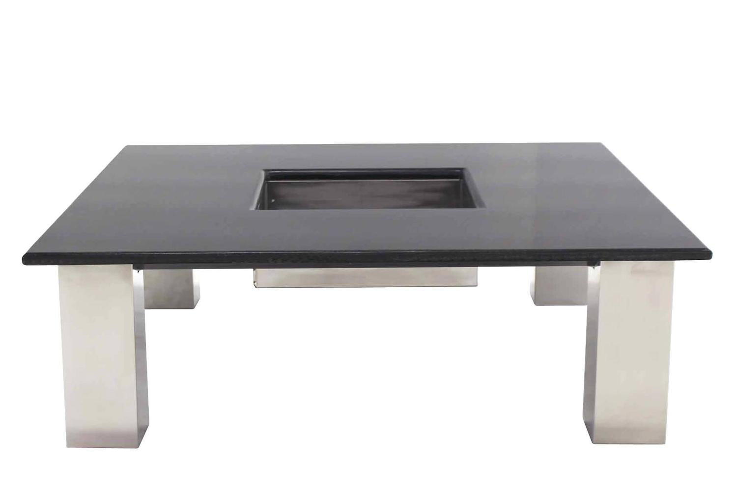 Large Square Granite Top Coffee Table With Center Planter For Sale At 1stdibs