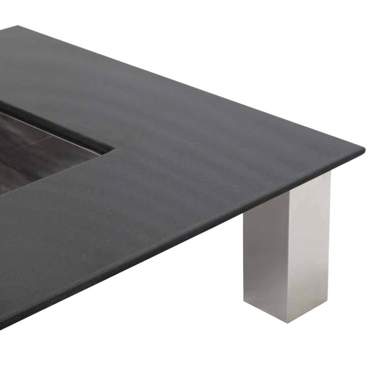Mid Century Square Steel Coffee Table With Black Marble: Large Square Granite Top Coffee Table With Center Planter