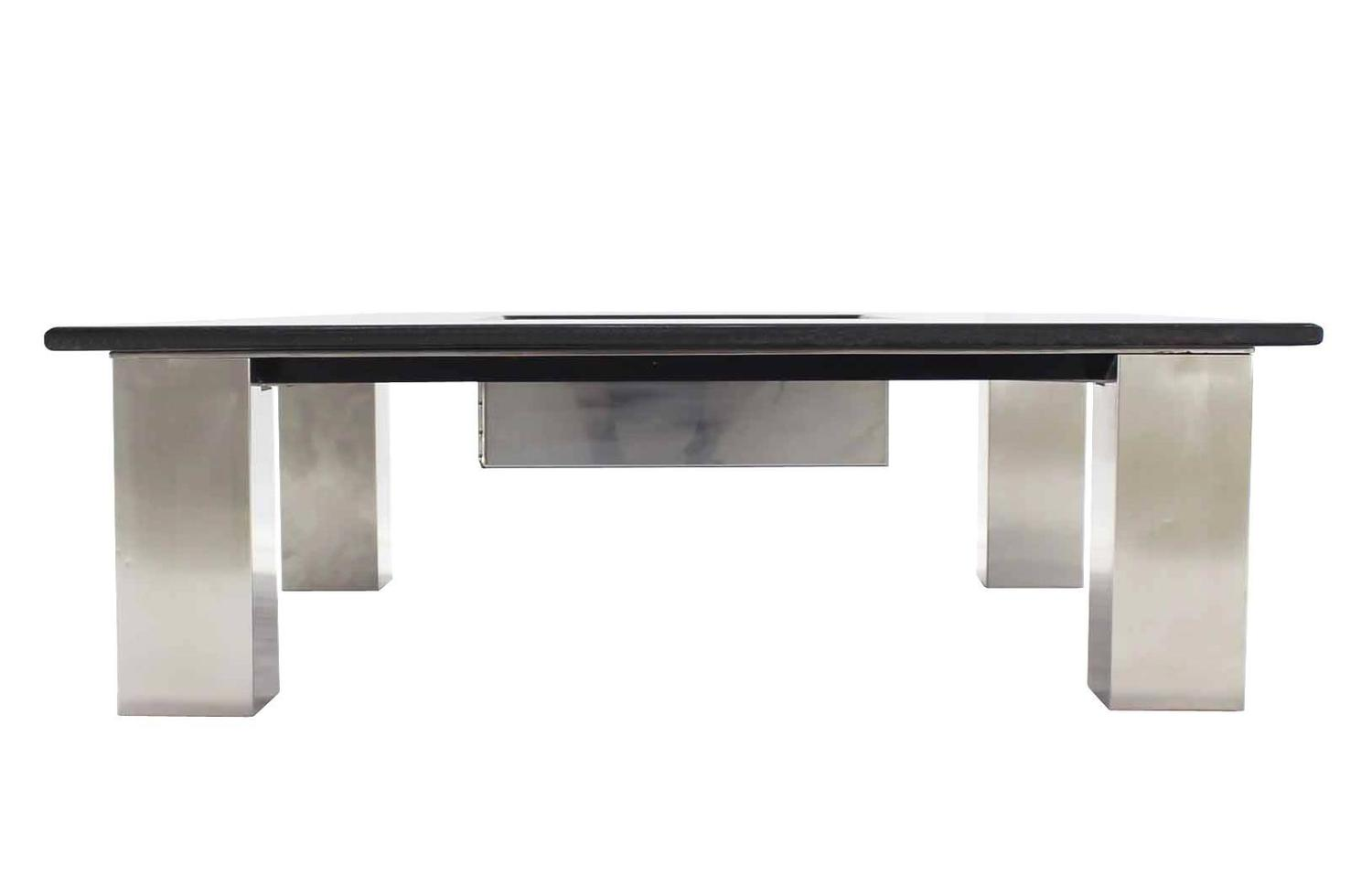 Large Square Granite Top Coffee Table with Center Planter ...