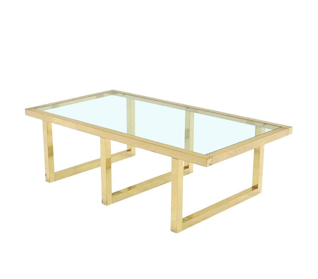 Rectangular Brass And Glass Mid Century Modern Coffee Table For Sale At 1stdibs
