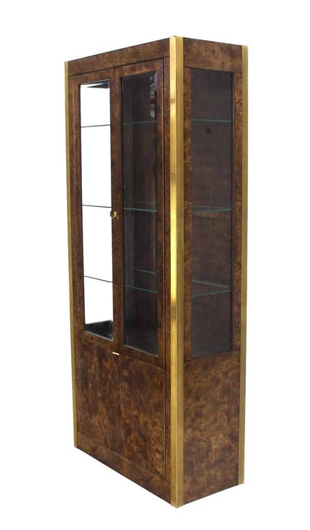 Pair of brass and burl wood vitrine display cabinets at - Vitrine modern ...