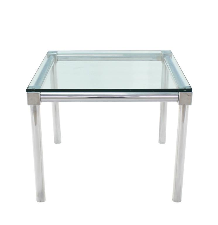 Beautiful chrome and thick glass top square game table with table camping decathlon for Table quechua