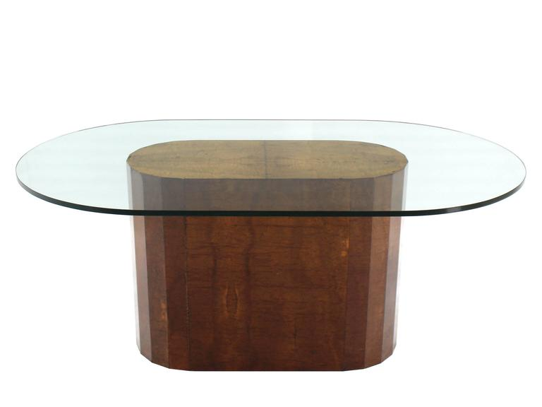 Large Burl Wood Base Thick Glass Top Oval Dining Table at  : IMG9620l from www.1stdibs.com size 768 x 576 jpeg 17kB