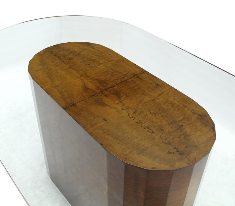 Burl Wood Base Thick Glass Top Oval Dining Table at