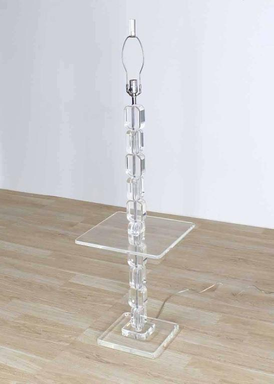Mid-Century Modern Lucite Floor Lamp Side Table For Sale