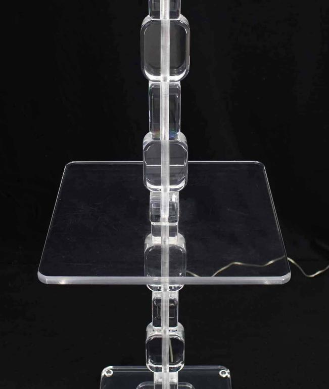 Lucite Floor Lamp Side Table In Excellent Condition For Sale In Rockaway, NJ