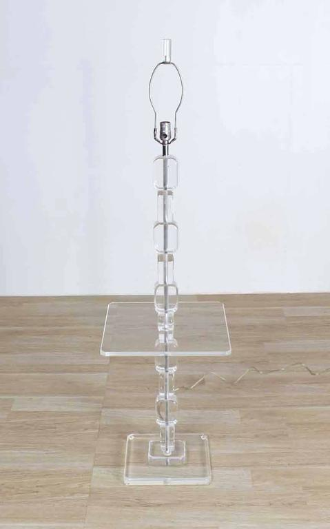 Lucite Floor Lamp Side Table For Sale 1