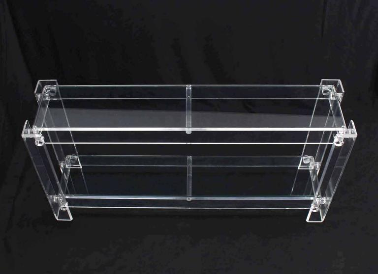 Mid-Century Modern Two Tier Long Lucite Console Sofa Table For Sale