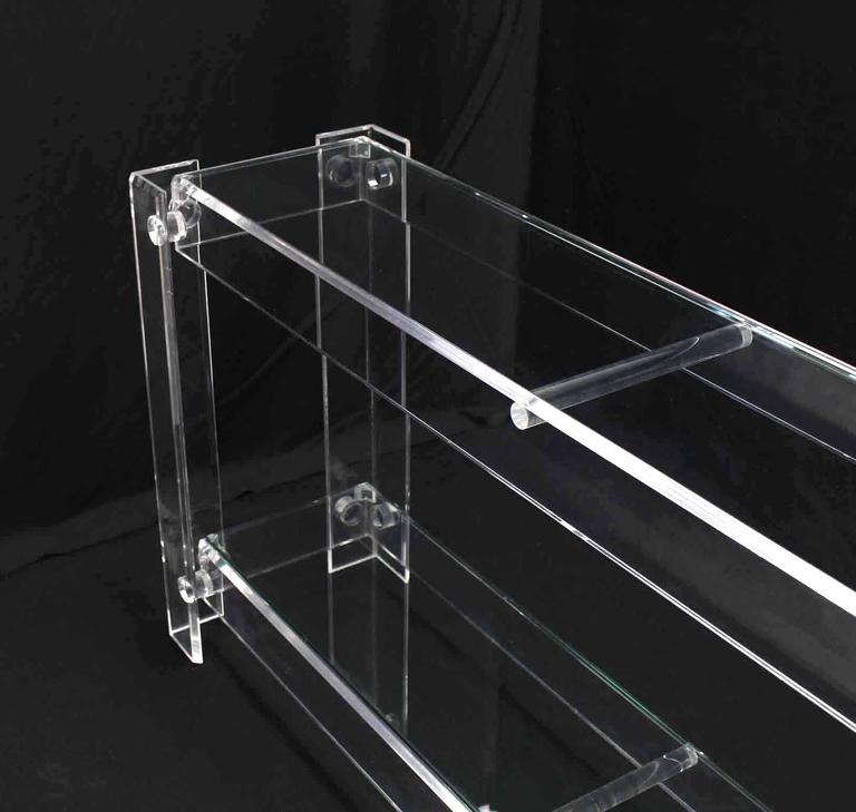 American Two Tier Long Lucite Console Sofa Table For Sale