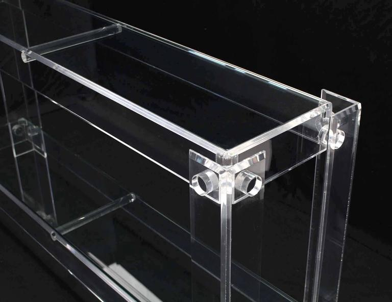 Polished Two Tier Long Lucite Console Sofa Table For Sale