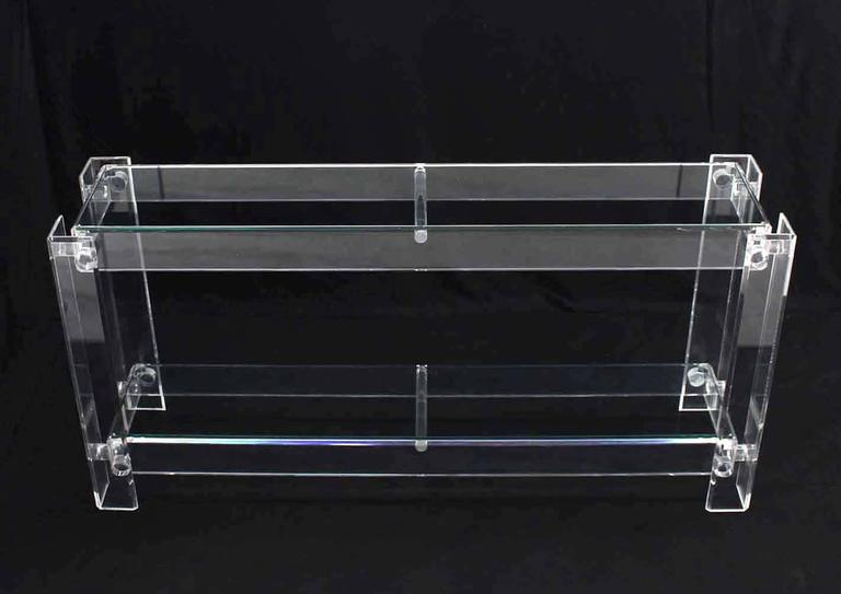 Two Tier Long Lucite Console Sofa Table In Excellent Condition For Sale In Blairstown, NJ