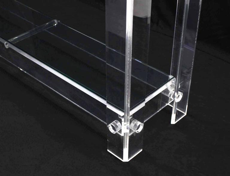 20th Century Two Tier Long Lucite Console Sofa Table For Sale