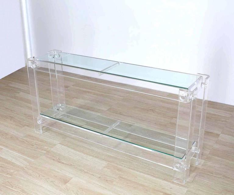 Two Tier Long Lucite Console Sofa Table For Sale 1