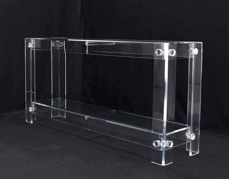 Two Tier Long Lucite Console Sofa Table For Sale 2