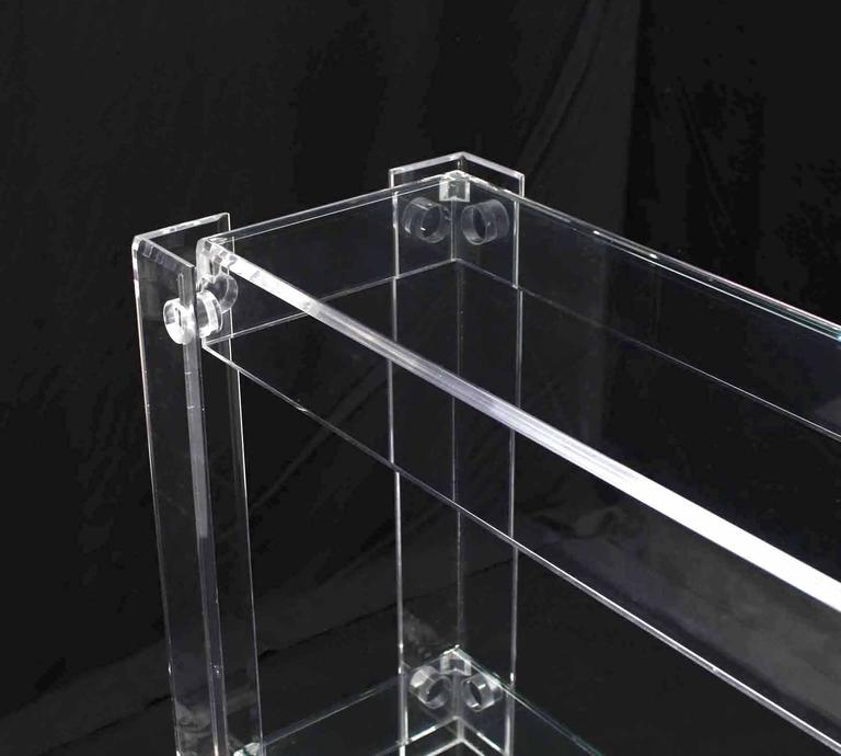 Two Tier Long Lucite Console Sofa Table For Sale 3