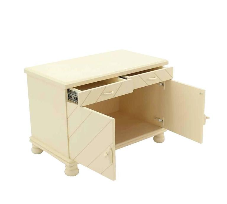 pair of white textured paint nightstands for sale at 1stdibs. Black Bedroom Furniture Sets. Home Design Ideas