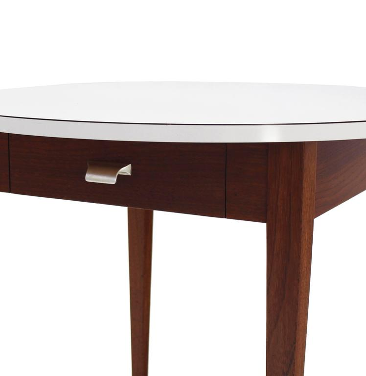 American Nice Oiled Walnut Base Round Laminated Top Side Table For Sale