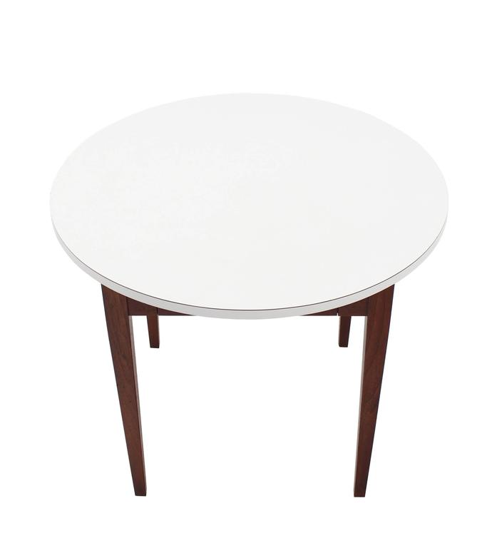 Nice Oiled Walnut Base Round Laminated Top Side Table For Sale 1
