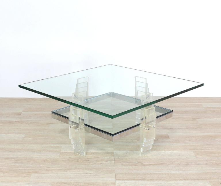 Nice Large Lucite And Glass Square Coffee Table For Sale At 1stdibs