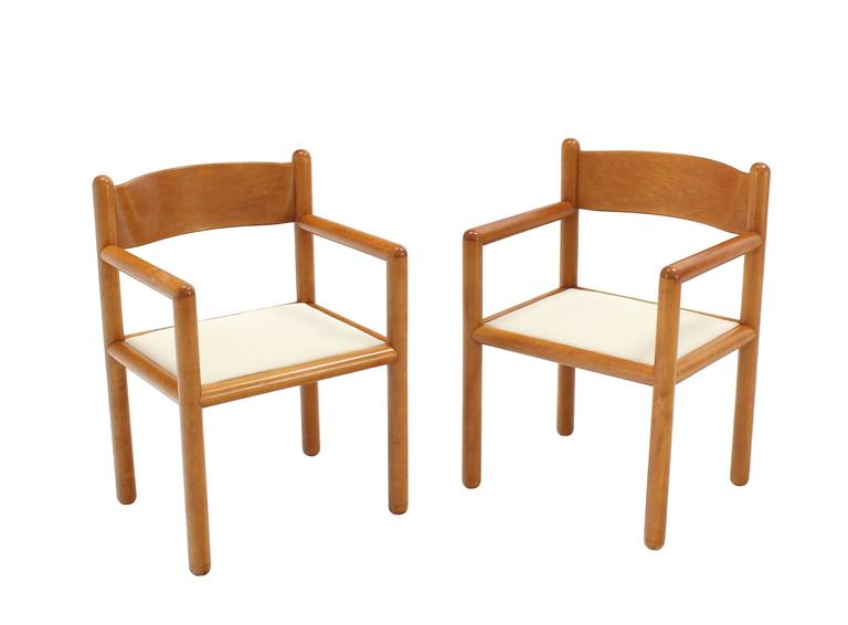 Very nice set of Mid-Century Modern solid frames moulded plywood backs chairs with newly upholstered seats.