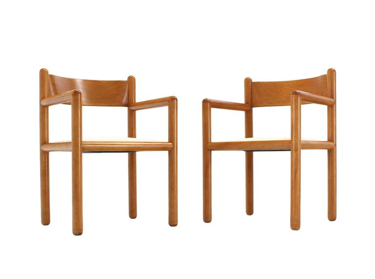 Birch Set of Six Mid Century Modern Chairs with Sculpted Plywood Back For Sale