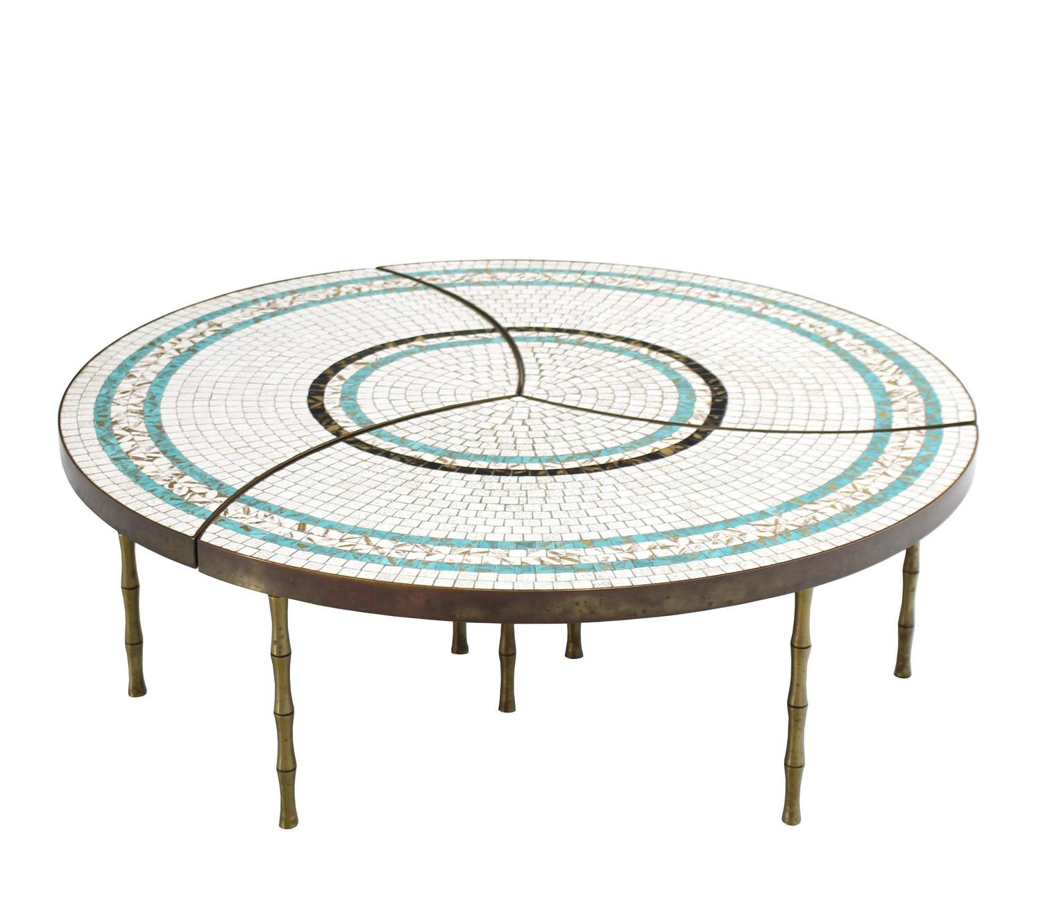 Round 3 Round Coffee Table Made Of Metal Cm ø80x23h: Three-Part Bronze And Mosaic Round Coffee Table For Sale