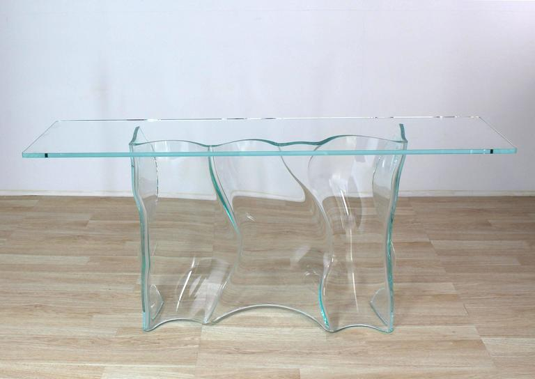 Mid Century Modern Organic Free Form Molded Glass Wave Pattern Large Console  Table For Sale