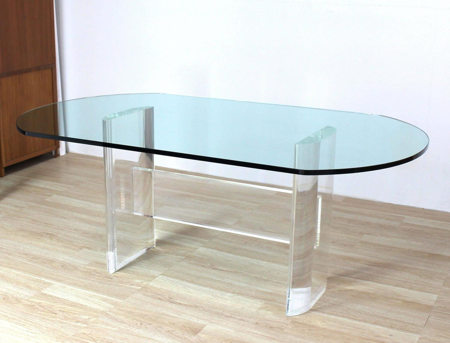 Thick Oval Glass Top Lucite Base Dining Conference Table ...