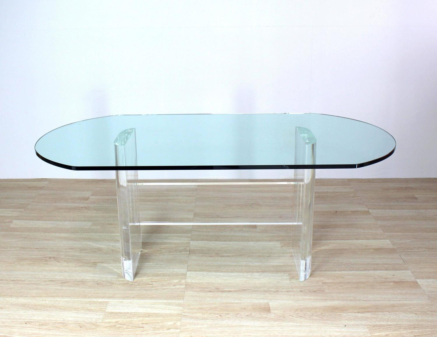 Thick Oval Glass Top Lucite Base Dining Conference Table
