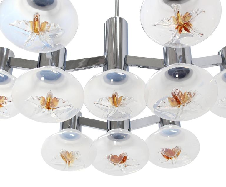 American Large Chrome and Blown Glass Shades Light Fixture For Sale