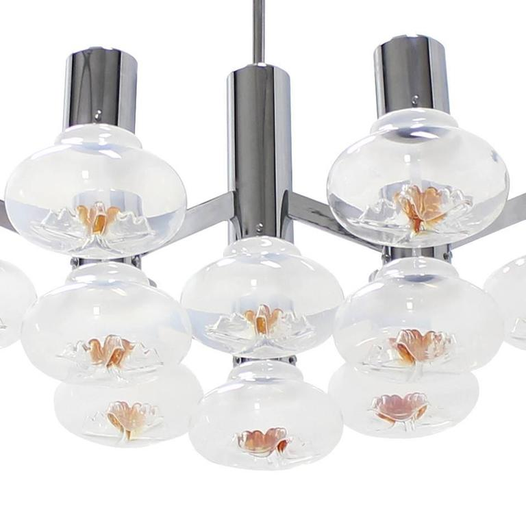 Large Chrome and Blown Glass Shades Light Fixture For Sale 2