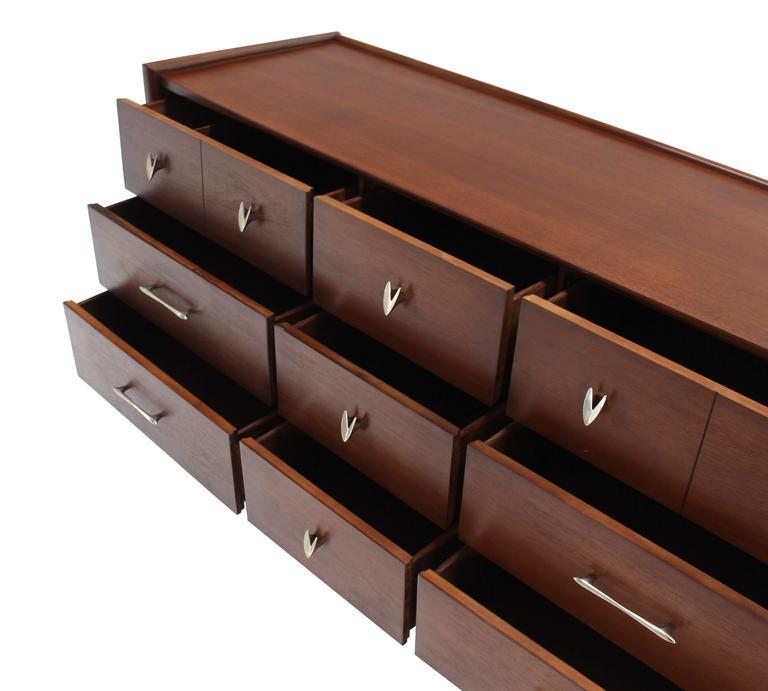 Mid Century American Modern Walnut Dresser For Sale 2