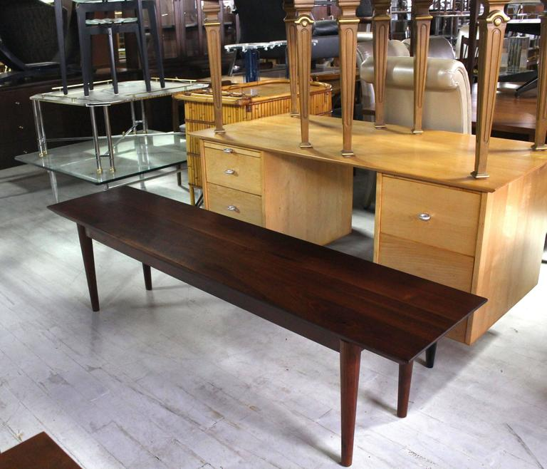 American Rare Early Walnut Bench or Coffee Table by Risom For Sale