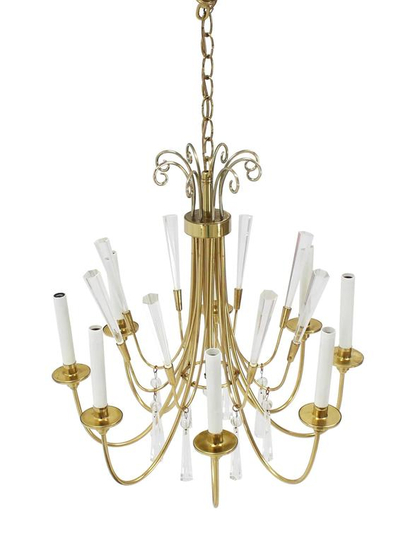 Brass and Lucite Mid-Century Modern Light Fixture Chandelier  For Sale 1