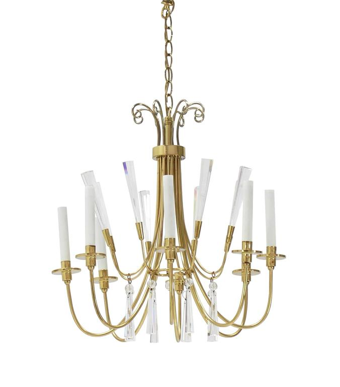 Brass and Lucite Mid-Century Modern Light Fixture Chandelier  For Sale 2