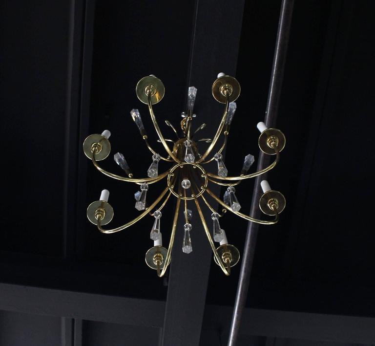 Brass and Lucite Mid-Century Modern Light Fixture Chandelier  For Sale 3