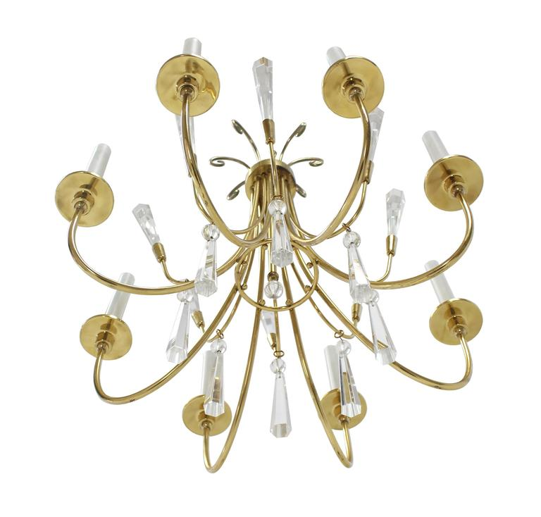 Brass and Lucite Mid-Century Modern Light Fixture Chandelier  For Sale 4
