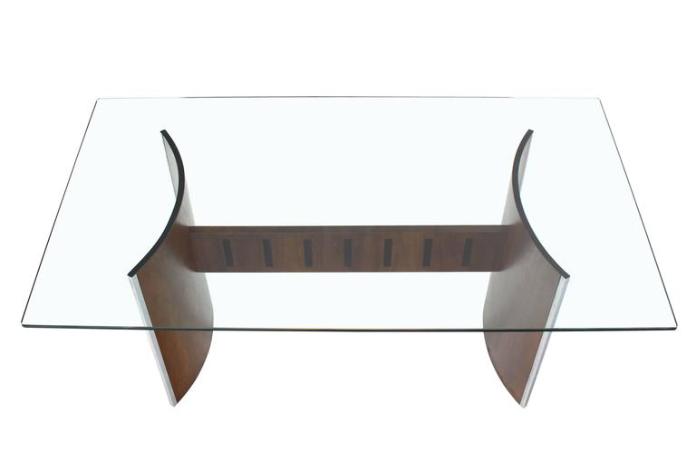 Glass Top Curved Walnut Base Dining Table At 1stdibs