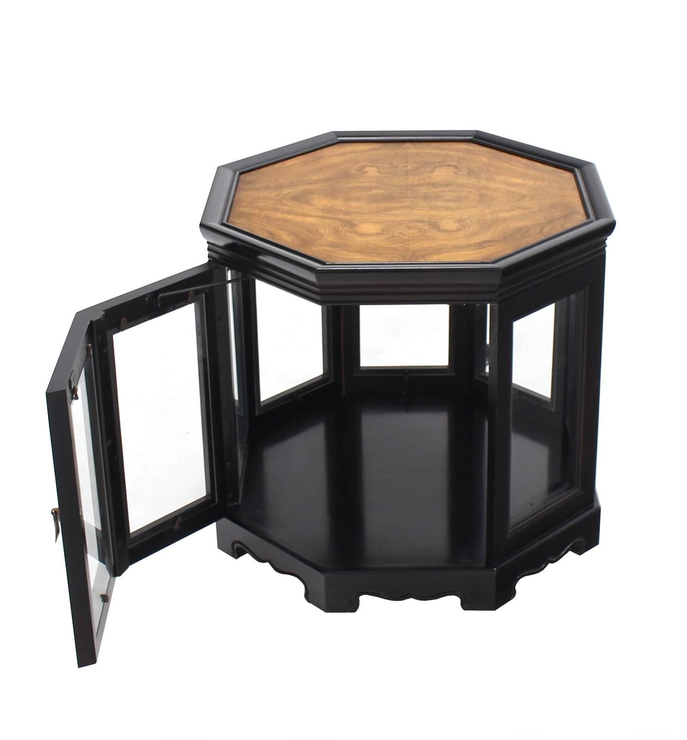 Hexagon black with burl wood top cabinet side table for for Black wood end tables