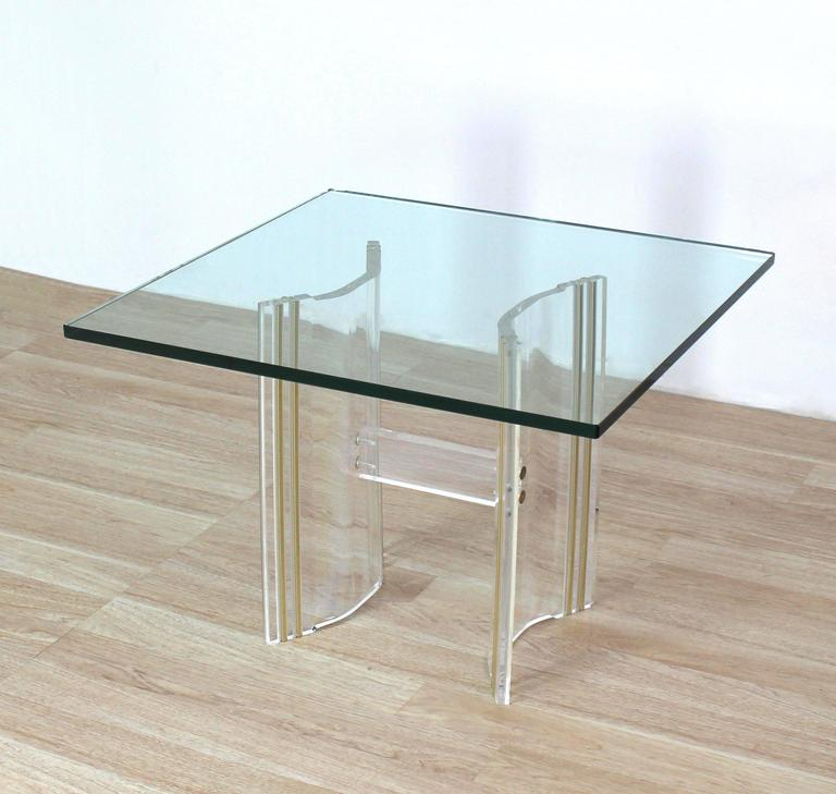 Lucite base sqaure glass top occasional side table for for Glass top occasional tables