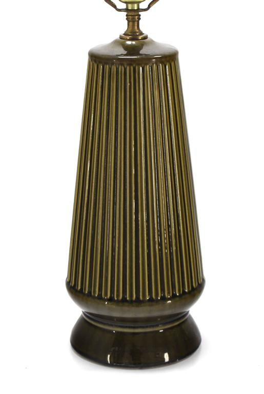 Mid-Century Modern Art Potery Green Glase Table Lamp For Sale