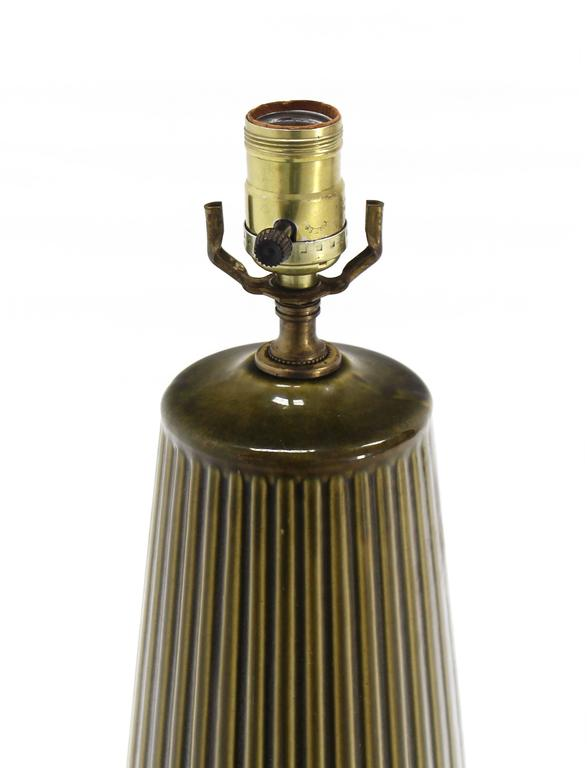 American Art Potery Green Glase Table Lamp For Sale