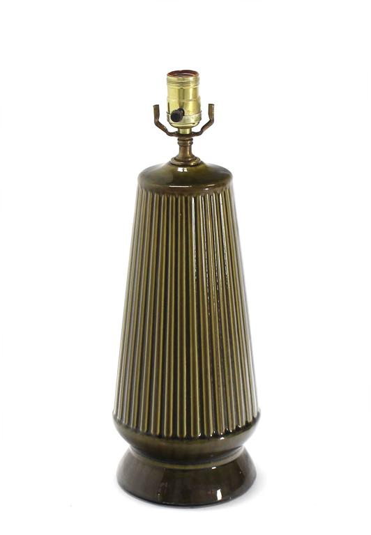 20th Century Art Potery Green Glase Table Lamp For Sale