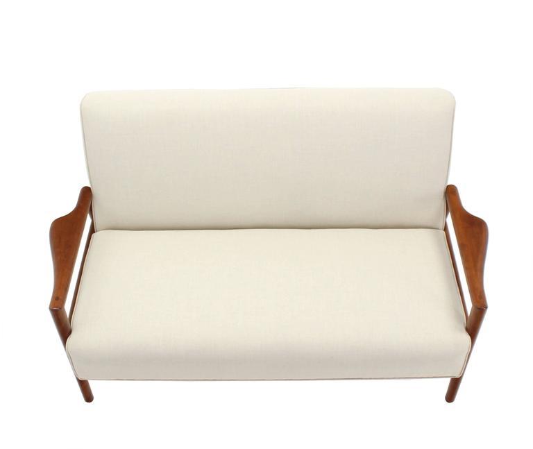 New Upholstery Danish Modern Loveseat Sofa For Sale At 1stdibs